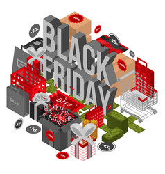 Black friday shop concept background isometric vector