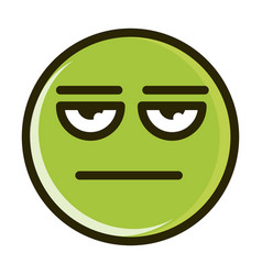 Bored funny smiley emoticon face expression line vector