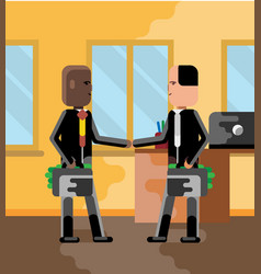 business meeting african and european businessmen vector image
