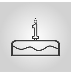 Cake with candles in the form of number 1 icon vector image