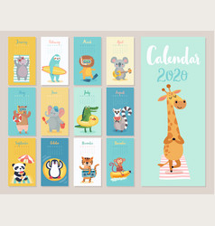 calendar 2020 cute monthly with beach vector image