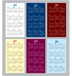 Calendar grid for 2014 2015 2016 2017 2018 2019 vector