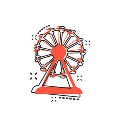 Cartoon ferris wheel icon in comic style carousel vector