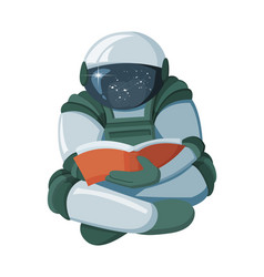 cartoon floating astronaut reading a book in space vector image