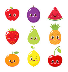cartoon fruit and berry characters set vector image