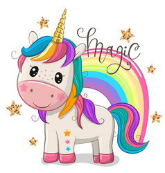 Cartoon unicorn with a rainbow isolated on a vector