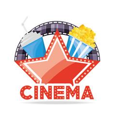 Cinema wig soda and popcorn with filmstrip scene vector