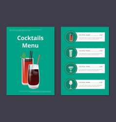 cocktails menu poster with bloody mary and whiskey vector image