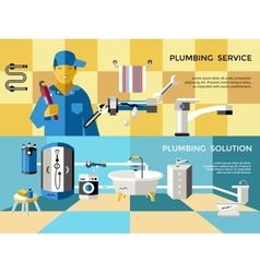 Colored Plumbing Concept Banner Set vector image