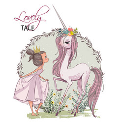 cute unicorn with girl vector image