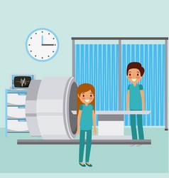 Doctors scan machine monitor medical clock vector