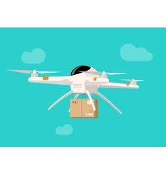 Drone delivery flying in sky shipping parcel box vector