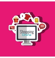E-commerce from computer isolated icon design vector