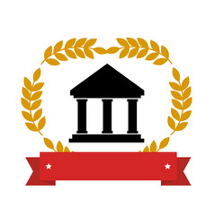 Emblem with parthenon with olive branchs and vector