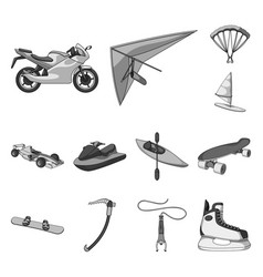 Extreme sport monochrome icons in set collection vector