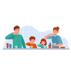 family brush teeth parents and children brushing vector image