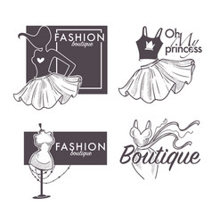 Fashion boutique isolated icons female clothes vector