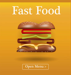 fast food burger template layout text vector image