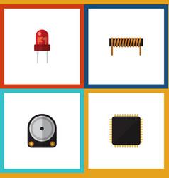 flat icon appliance set of hdd recipient cpu and vector image