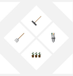 Flat icon garden set of flowerpot pump hay fork vector