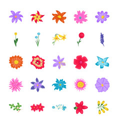 Flowers flat icons vector