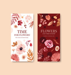 Flyer template with autumn flower concept design vector