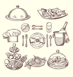 Foods on dishes monochrome pictures for design vector