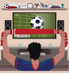 Football fan rejoices at the goal vector