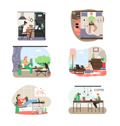 freelance set people working from home office vector image