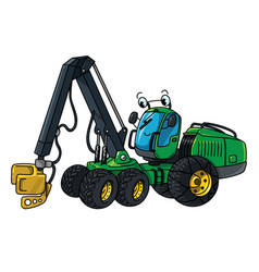 Funny harvester with a saw forestry cars machinery vector
