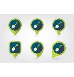 Gardening shovel flat pin map icon vector image