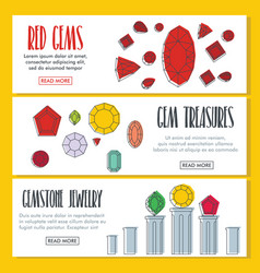gems doodle three horizontal banners vector image
