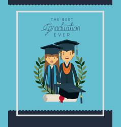 Graduation card with couple graduates vector