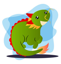 green cartoon dragon on white background vector image