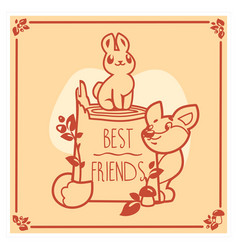 Greeting card with cute rabbit and fox vector