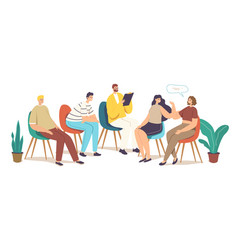 Group therapy addiction treatment concept vector