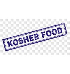 Grunge kosher food rectangle stamp vector