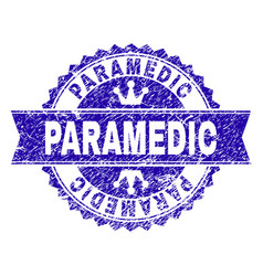 Grunge textured paramedic stamp seal with ribbon vector