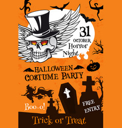 halloween party poster with pumpkin and skull vector image