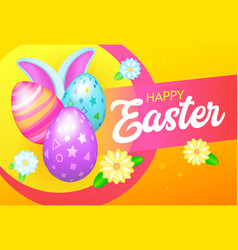 happy easter banner with eggs and rabbit vector image