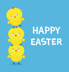 Happy easter chicken pyramid family set farm vector
