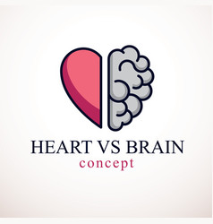 Heart and brain concept conflict between emotions vector