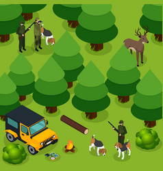 hunting isometric composition vector image