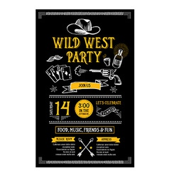 Invitation wild west party flyer Typography and vector