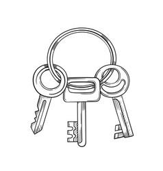 keys cartoon and black and vector image