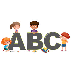 kids with english alphabet vector image