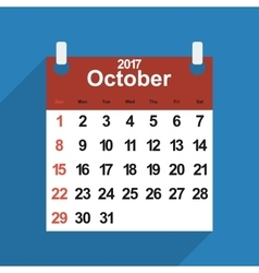 Leaf calendar 2017 with the month of October days vector