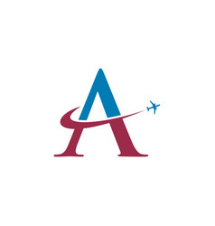 Letter a travel airplane logo vector