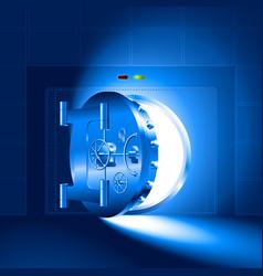 Light half-open door safe blue vector