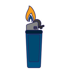 lighter fire object blue lines vector image